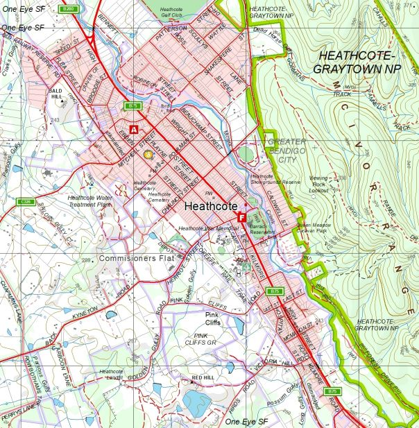 Map of Heathcote at scale 1:25 000