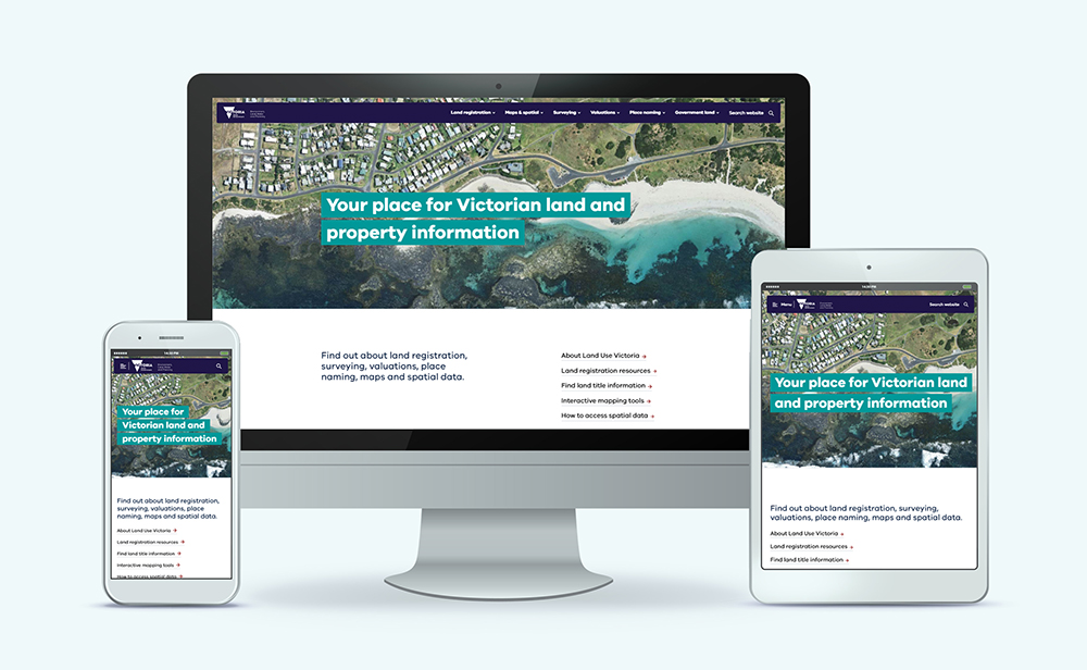 The new homepage for the land.vic.gov.au website on different devices
