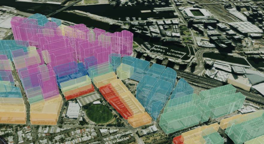 Fishermans Bend Digital Twin pilot showing 3D planning overlays on aerial imagery