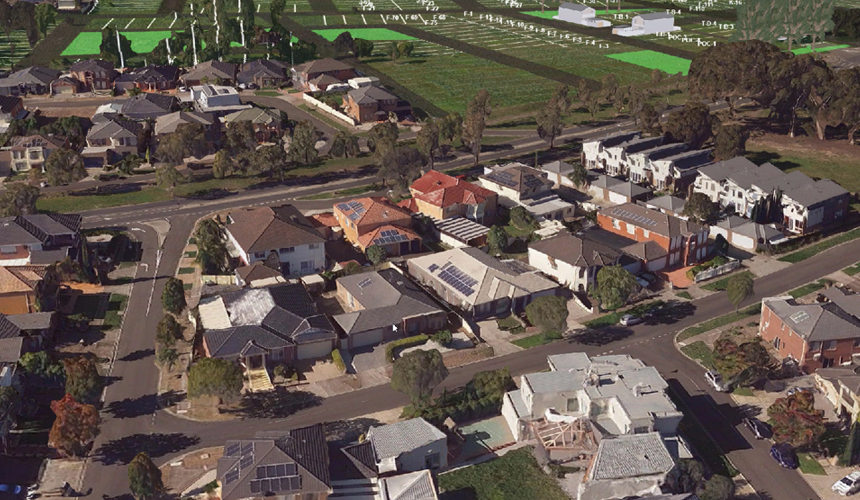 Aerial view of streetscape that shows eComply data in the Digital Twin Victoria pilot