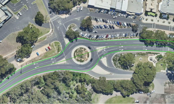 Great Ocean road Centreline - Anglesea intersection readjusted