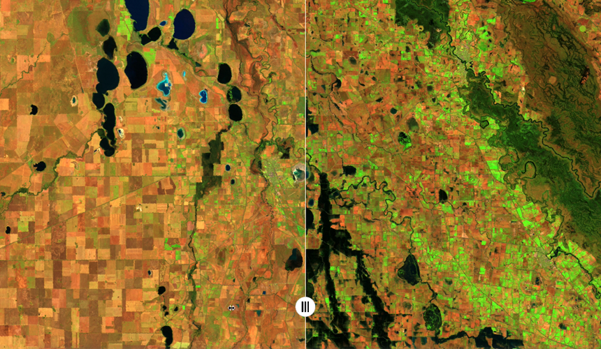 Comparison of before and after flood data in split screen within the Digital Twin Victoria pilot