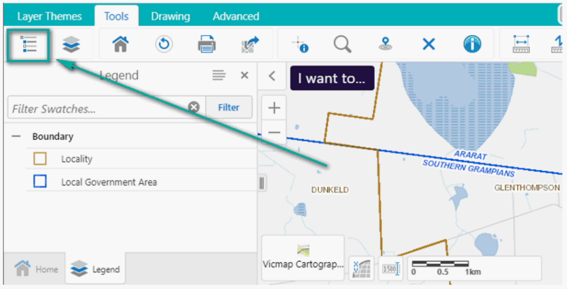 screen capture of Mapshare legend tab