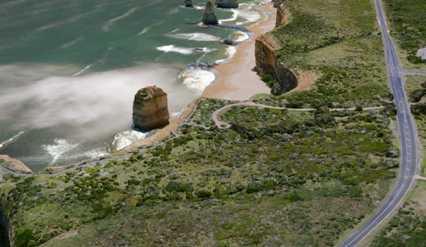 View of a section of the Great Ocean Road 3D data within the Digital Twin Victoria pilot