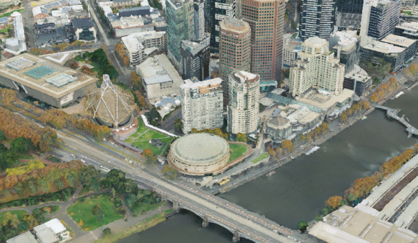 Melbourne city with the Yarra River from within the Digital Twin Victoria pilot