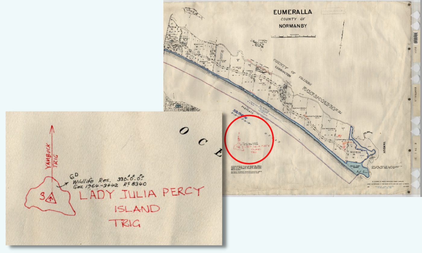 Detail of the hard copy of County Plan 27 from 1966 (right) updated in 1968 showing hand drawn Lady Julia Percy Island.