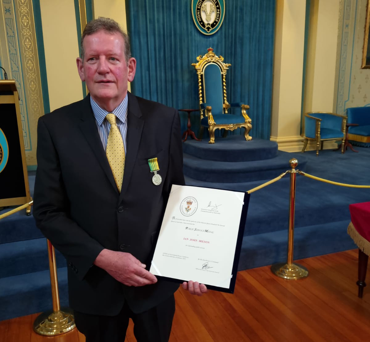 Former Land Use Victoria Chief Executive Ian Ireson awarded public service medal at Government House