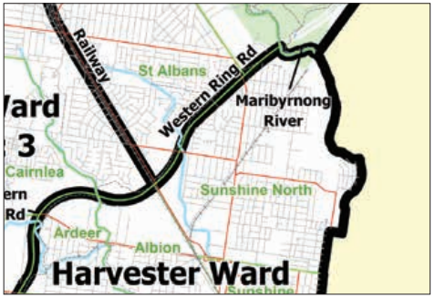 Above: Sample of municipal map showing wards. Vicmap Admin Localities (green), LGA Boundary (black line and yellow buffer) and ward boundaries (black lines)
